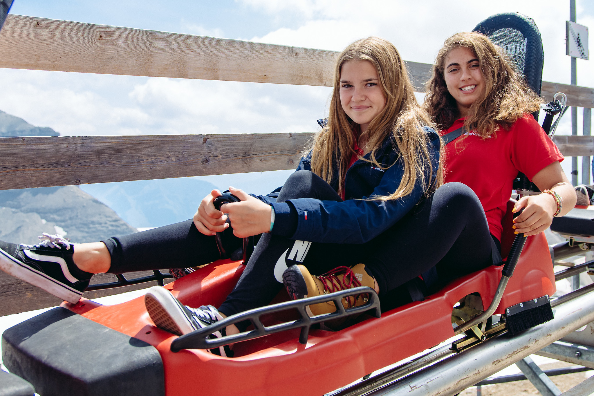 two campers ready to take on Europe's highest mountain coaster