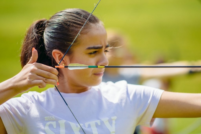 girl practising archery